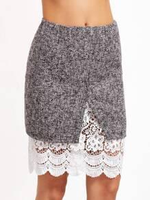 Marled Split Front Crochet Trim Skirt
