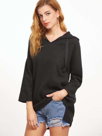 Black Hooded Drop Shoulder Slit Side High Low Sweatshirt
