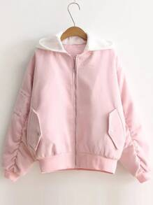 Pink Letter Embroidery Contrast Hooded Zipper Coat