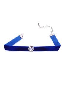Blue Gemstone Embellished Slim Velvet Choker