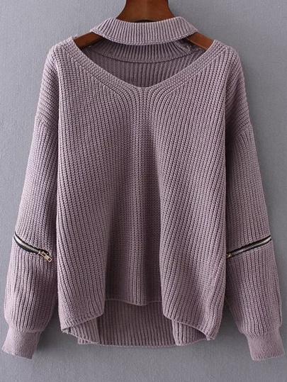 Jersey con escote V de gargantilla y detalle de cremallera - violeta