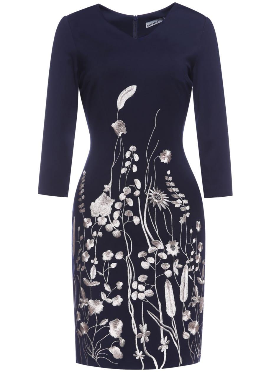 Фото Navy V Neck Flowers Embroidered Sheath Dress. Купить с доставкой