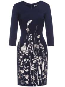 Navy V Neck Flowers Embroidered Sheath Dress