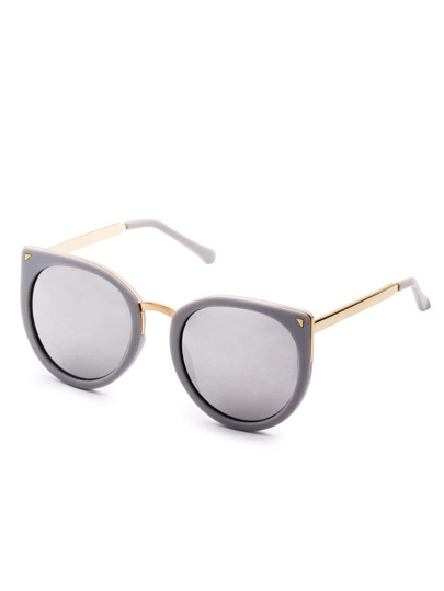 Grey Metal Trim Cat Eye Sunglasses