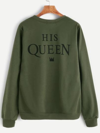 Army Green Slogan Print Sweatshirt