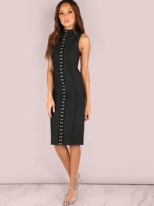 Hook Eye Bandage Bodycon Midi Dress BLACK