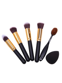 Brosses à maquillage professionnels avec éponge - noir