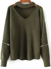 Jersey con escote V de gargantilla y detalle de cremallera - verde militar