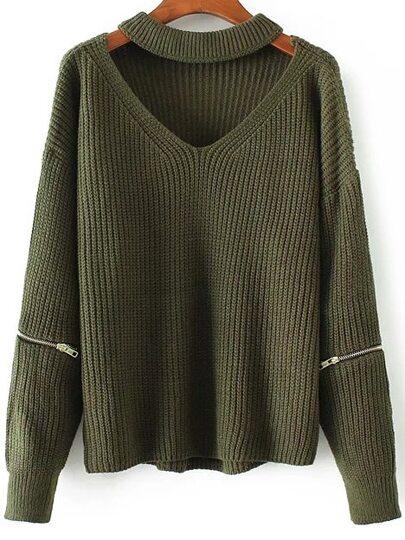 Choker V Neck Zipper Detail Sweater