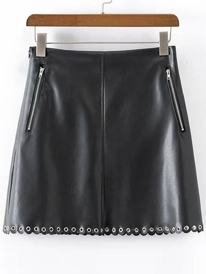 Black Eyelet Scalloped Zipper PU Skirt