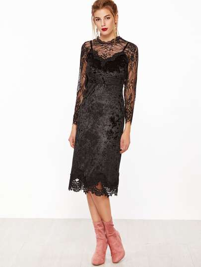 Black Lace Top With Contrast Crochet Velvet Slip Dress