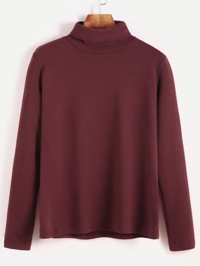 Burgundy Turtleneck Long Sleeve T-shirt