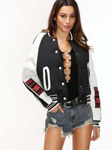 Contrast Striped Trim Raglan Sleeve Embroidered Tape Patch Jacket