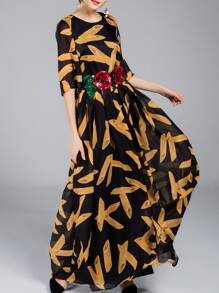 Black Flowers Applique Print Maxi Dress