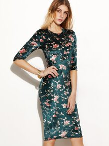 Dark Green Flower Print Silky Pencil Dress