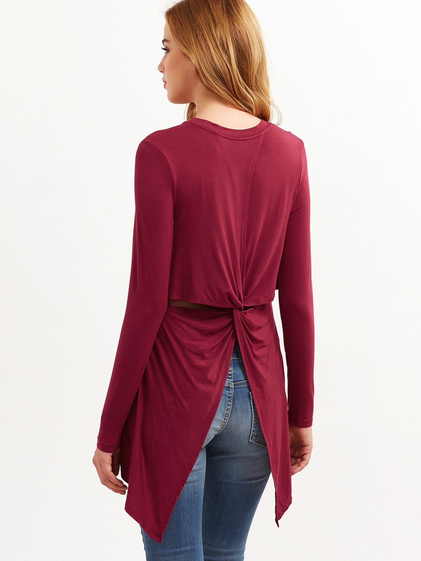 Burgundy Cutout Twist Back Asymmetric T-shirtBurgundy Cutout Twist Back Asymmetric T-shirt<br><br>color: Burgundy<br>size: L,M,S,XS