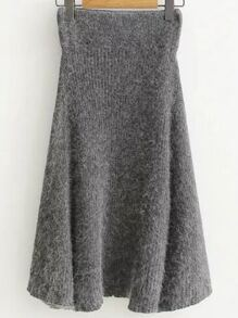 Grey Elastic Waist Knit Midi Skirt