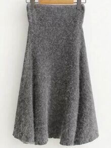 Falda mini de punto con cintura elástica - gris
