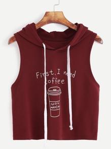 Top court à capuche imprimé café -bprfeaux rouge