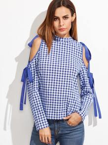 Blue And White Gingham Bow Tie Open Shoulder Blouse