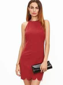 Red Keyhole Back Halter Neck Scallop Dress
