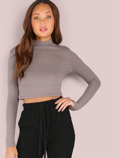 Mock Neck Rib Knit Sleeved Crop Top COCOA