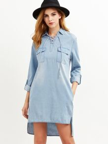Blue Lace Up Front Flap Pocket Front High Low Denim Dress