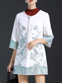 White Flowers Embroidered Pockets Coat