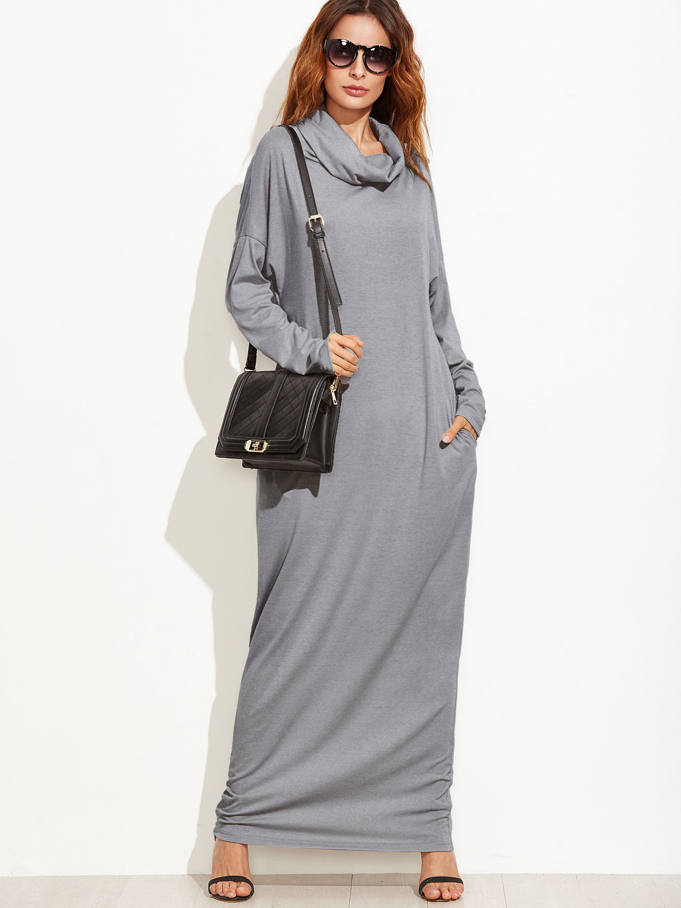 Cowl Neck Drop Shoulder Full Length Dress pocket open shoulder split full length dress