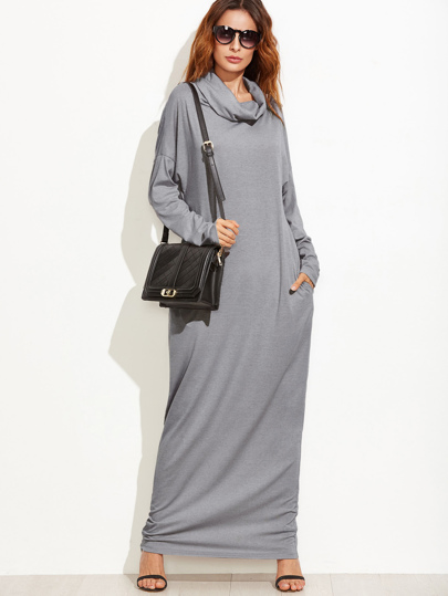 Cowl Neck Drop Shoulder Full Length Dress