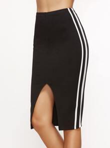 Black Side Stripe Slit Front Pencil Skirt