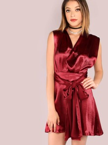 Satin Halter Fit n Flare Tail Dress RED