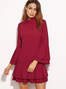 Burgundy Layered Pleated Ruffle Sleeve And Hem Dress