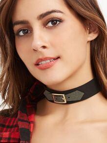 Grey Buckle Black Band Stylish Choker Necklace