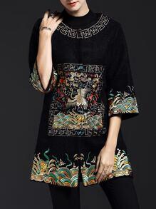 Black Vintage Embroidered Pockets Coat