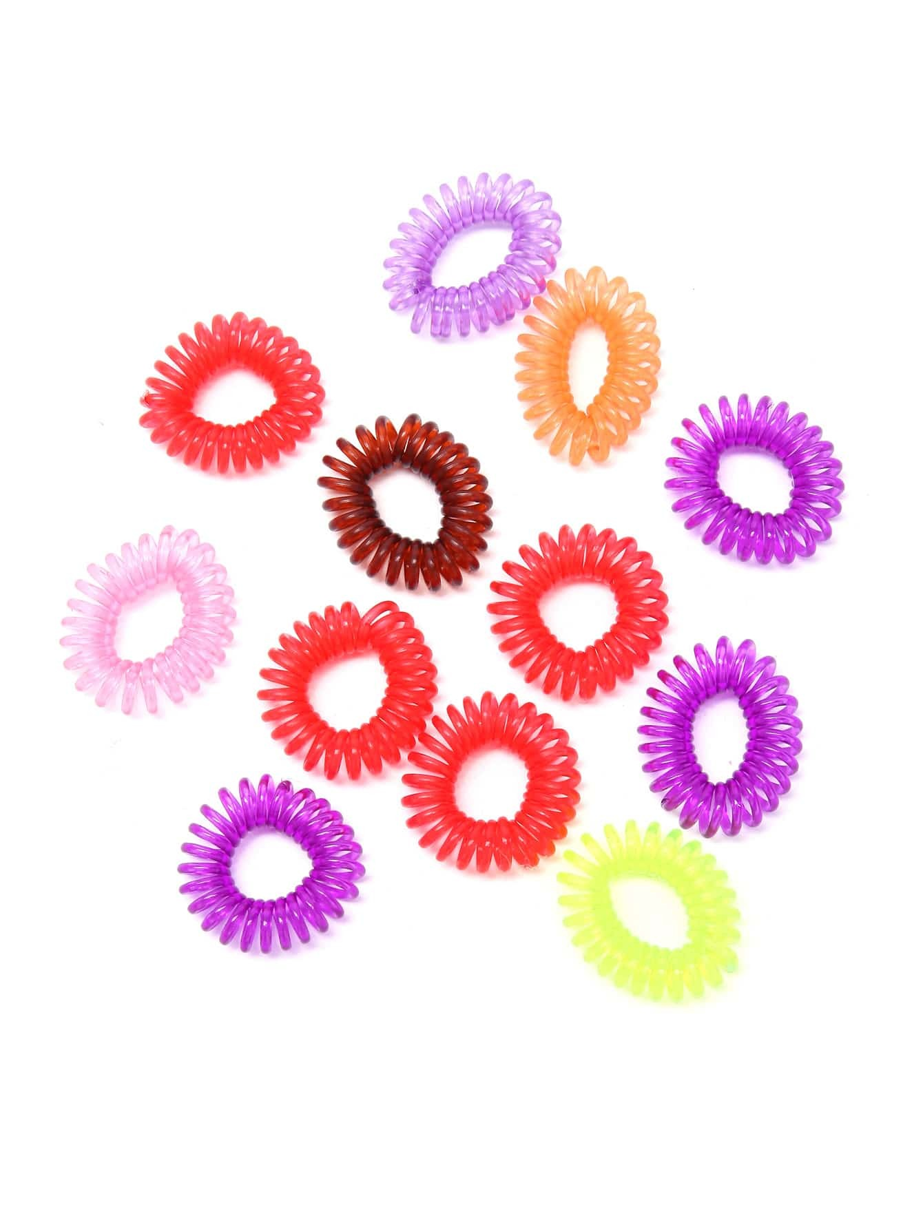 Random Color Telephone Cord Hair Tie Set hairHA161121301