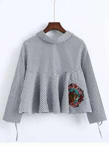 Blue Striped Split Sleeve Embroidered Tie Back Blouse