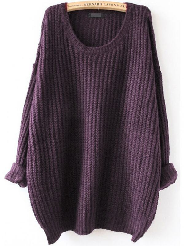 Drop Shoulder Textured Roll-Up Sweater, null