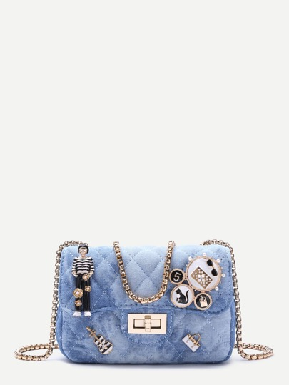 Blue Denim Metallic Embellished Mini Quilted Chain Bag