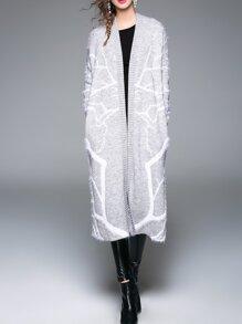 White Lapel Knit Pockets Long Coat