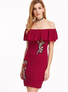 Rüschen Kleid mit Stickereien Blumen Applikante Schulterfrei-burgund rot