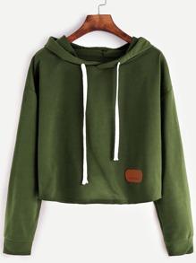 Sweat-shirt court à capuche avec pièces -vert d'armée