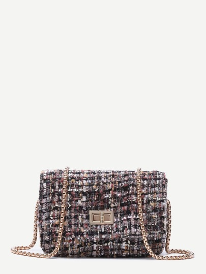 Multicolor Tweed Box Bag With Chain Strap