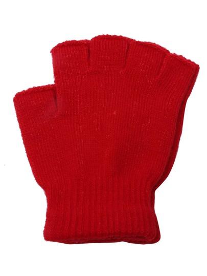 Plain Gloves Knitting Pattern : Red Plain Knit Textured Fingerless Gloves -SheIn(Sheinside)