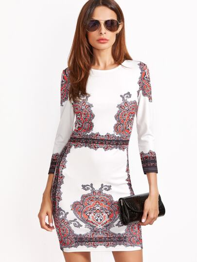 Vintage Print Bodycon Dress