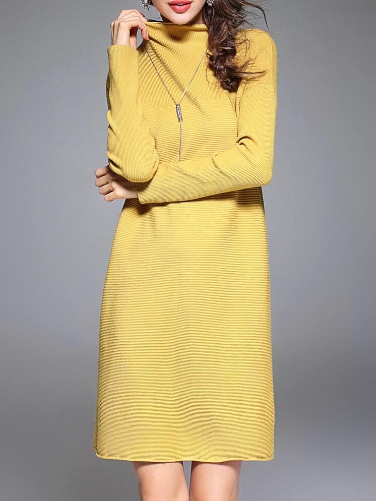 Фото Yellow Collar Pleated Elastic Dress. Купить с доставкой