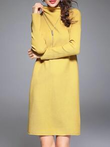Yellow Collar Pleated Elastic Dress