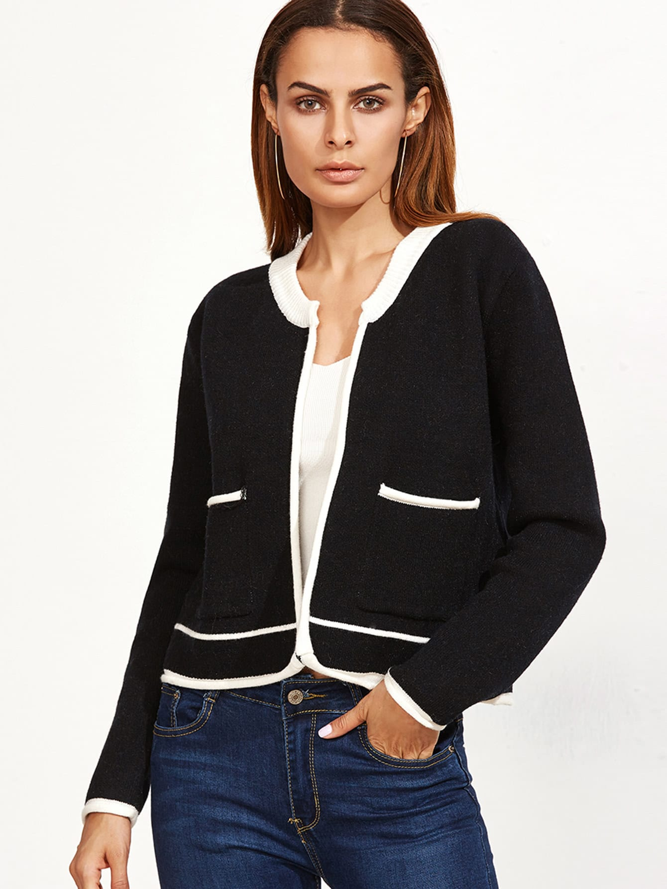 Black Contrast Trim Open Front Cardigan With Pocket sweater160929469