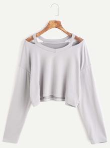 Grey Cut Out Neck Crop T-shirt