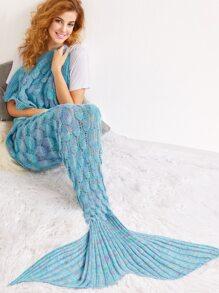 Manta de cola de sirena con diseño de escala de peces de croché - azul claro